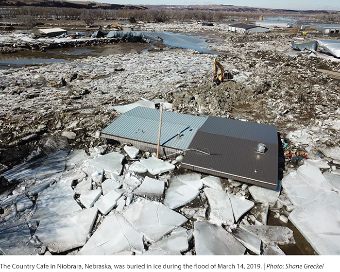 The Country Cafe in Niobrara, Nebraska, was buried in ice during the flood of March 14, 2019.